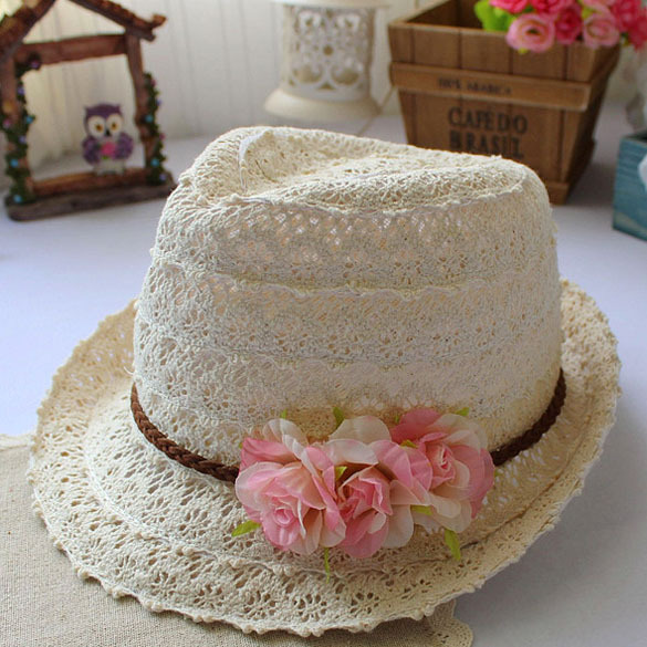 Free Shipping Fashion Sweet Floral Decoration Suede Hollow-carved Lace Jazz Ribbon Bowler Hat Sunny Beach Hat Drop Shipping(China (Mainland))