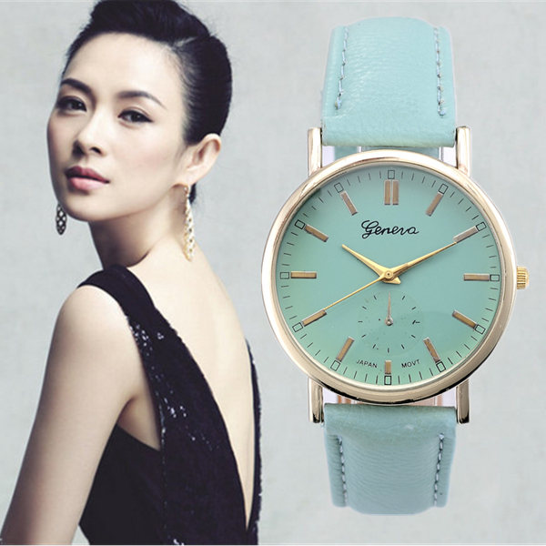 Geneva 2015 relojes Relogio Feminino geneva brand leather band quartz watch relogio feminino style wood grain leather quartz watch women dress wristwatches men watch montre femme
