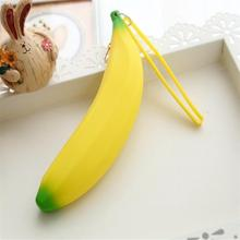 1 X Kawaii Unisex Men Women Girls Novelty Silicone Portable Banana Coin Pencil Pen Case Purse Bag Case Wallet Pouch Keyring(China (Mainland))