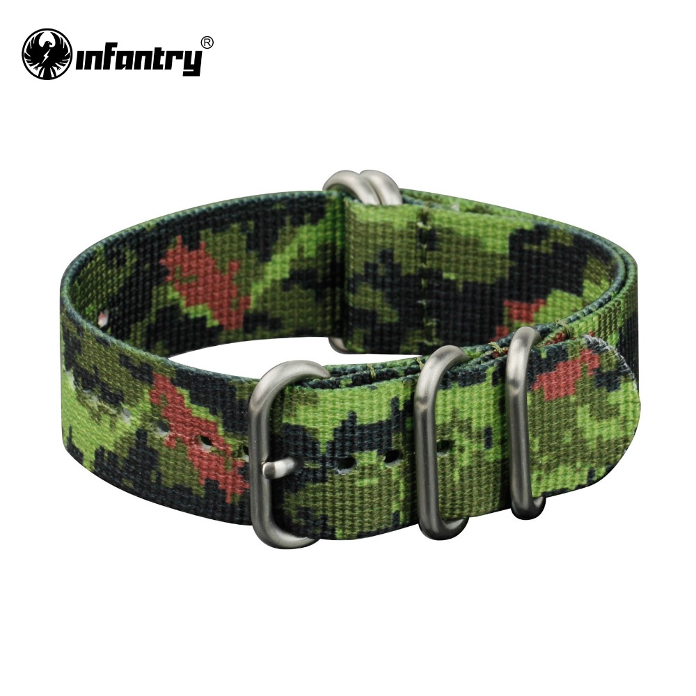 Infantry 22mm Watch Strap G10 Military Sport Green Camo Nylon Fabric Straps Bands 5 Rings NEW Heavy Duty Watchbands(Hong Kong)