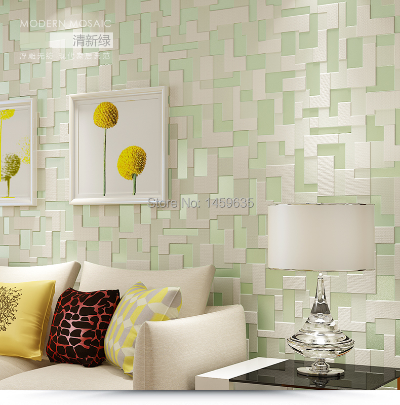 Popular simple mosaic patterns aliexpress for Wallpaper designs for living room green