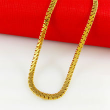 2014 New Fashion,Colorfast 51cm vacuum plated 24K Gold Necklace, gold Flat snake bone for men/women,Free Shipping,B024(China (Mainland))