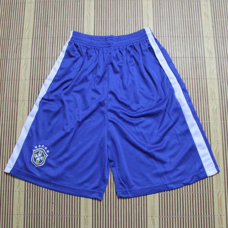 Wholesale Cheap blue Brazil soccer shorts sport shorts men embroidery logos(China (Mainland))