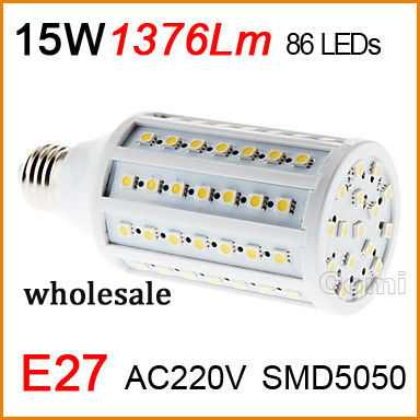 High quality led corn Bulb Lamp light 110V-220V 15W E27 1376LM 86 Warm White white Factory directsale wholesale