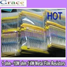 64 Werte 1280 stück 1 Ohm- 10m ohm 1/4w metallfilmwiderstände sortimentskasten(China (Mainland))