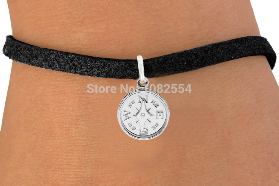 Personalized Custom Silver Plated Compass Sailing Guidance Pendant Rope Leather Bracelet(China (Mainland))