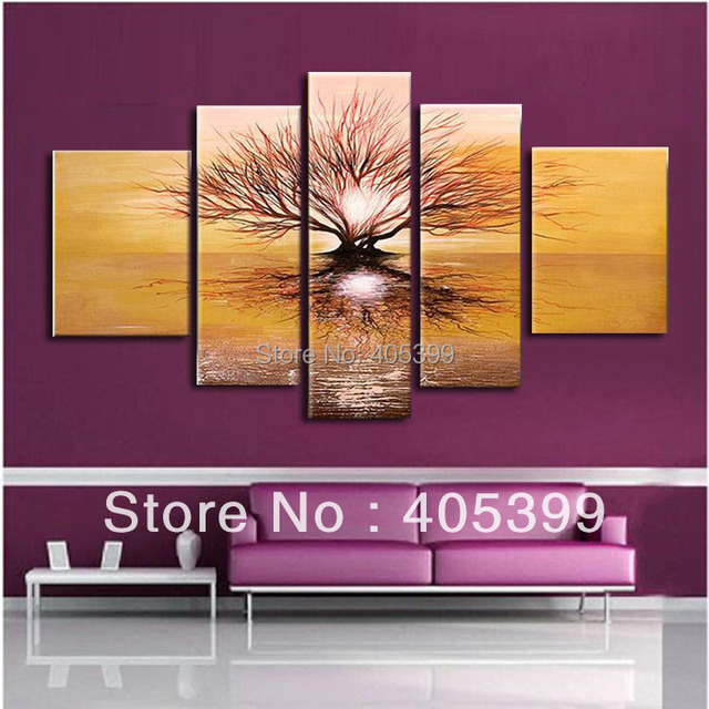 Free Shipping !! Life Tree Real Handmade Modern Abstract  Flower Oil Painting On Canvas Wall Art ,Z027