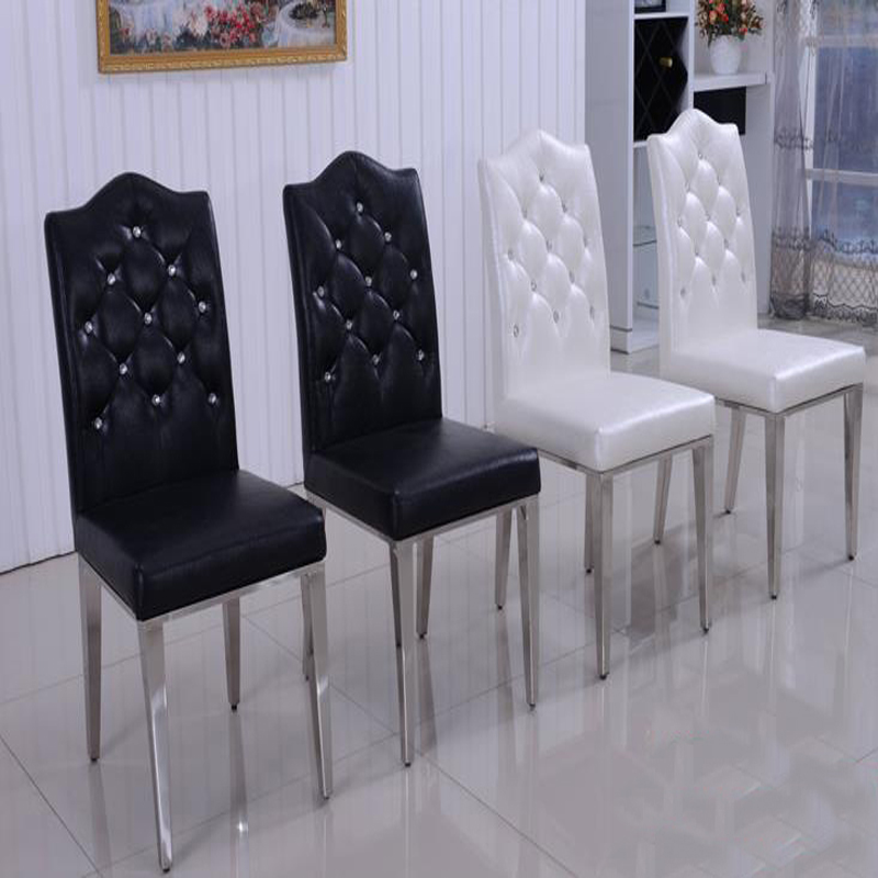 Buy new 100 stainless steel leather dining chairs fashion living room dining Metal living room furniture