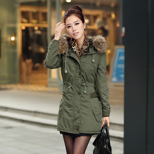 2013 Winter women's cotton-padded medium-long plus size outerwear Army Green thickening wadded jacket 0222882218