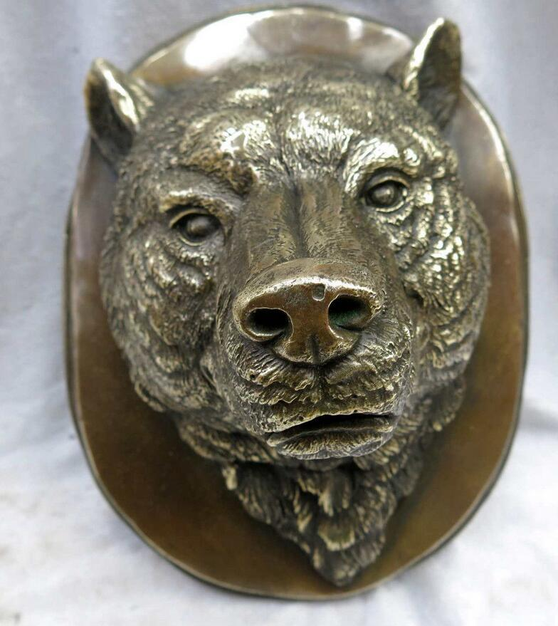 zhmui8800626435+<<+China carved fine brass beautiful wolf sculpture head of a wolf statue(China (Mainland))