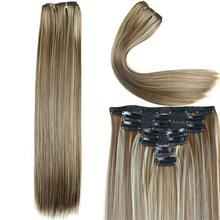 23 Inch 160g 16 Clips In Hair Extension Long Straight Synthetic Hair Extension Heat Resistant Hairpieces 14 Colors Available(China (Mainland))