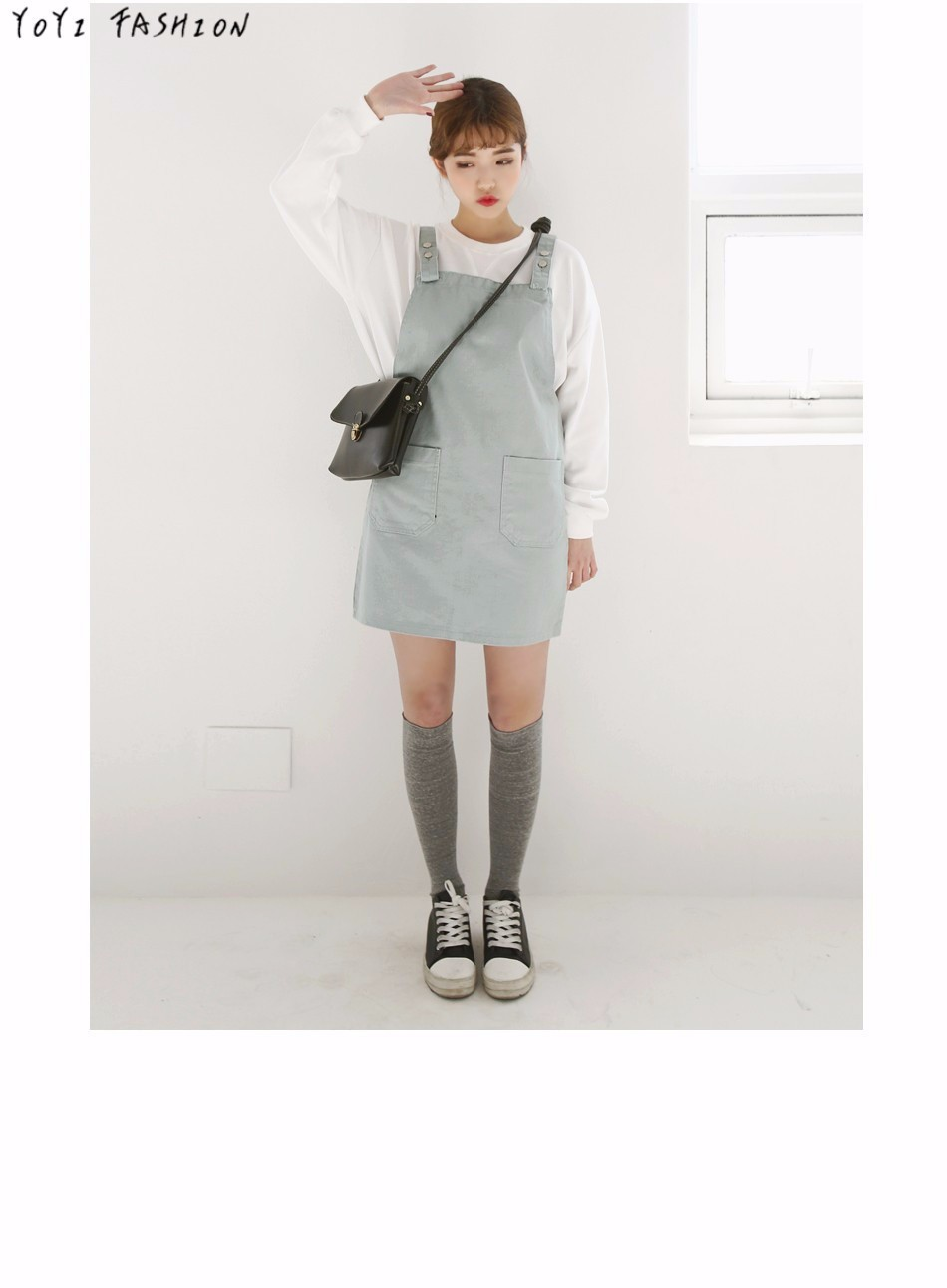 2016 Fashion Pink Jean Suspender Dress with Pockets Loose High School Overall Dress Pinafore Short Dress