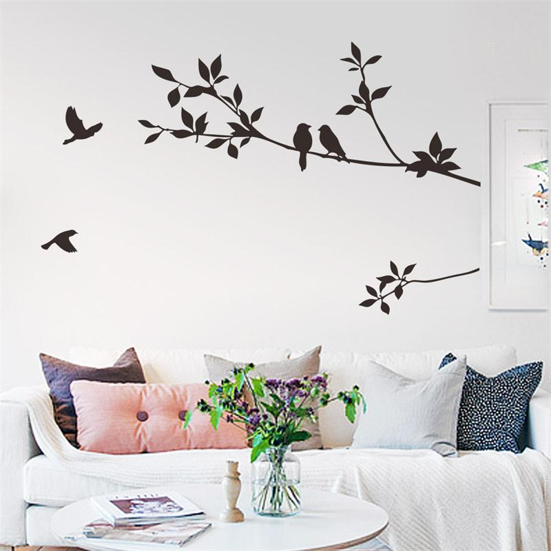 flying black bird tree branch vinyl wall stickers bedroom decoration 8171. removable diy home decals animal mural art 3.5(China (Mainland))