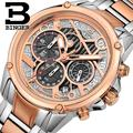 Switzerland watches men luxury brand Wristwatches BINGER Quartz watch full stainless steel Chronograph Diver glowwatch B