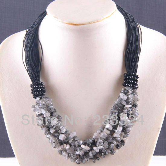 "6X8MM Black Jasper Chip Beads Nylon Line Weave Necklace 20"" 1Pcs E709(China (Mainland))"