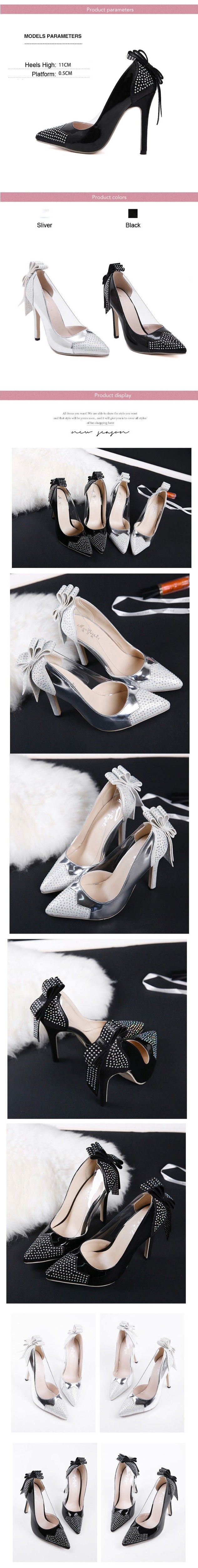 Fashion Thin High Heels Women Pumps Sexy Rhinestone Pointed Toe Party Shoes New Arrival Women Pump Shoes Sliver Black ZM2.5
