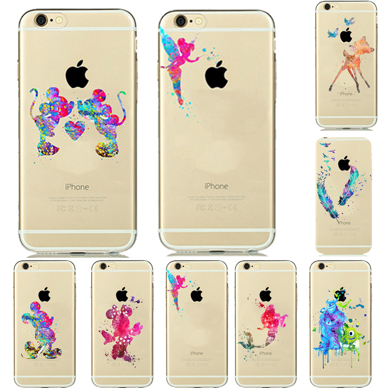 8 Designs Colorful Watercolor Art Transparent Cover Soft TPU Gel Mickey Mouse Case for Capinhas para iPhone 5 5s 6 6S funda(China (Mainland))