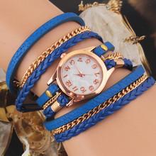 New Fashion Retro Vintage Colorful Multilayer Faux Leather Strap Band Wrap Women Bracelet Quartz Wrist Watch
