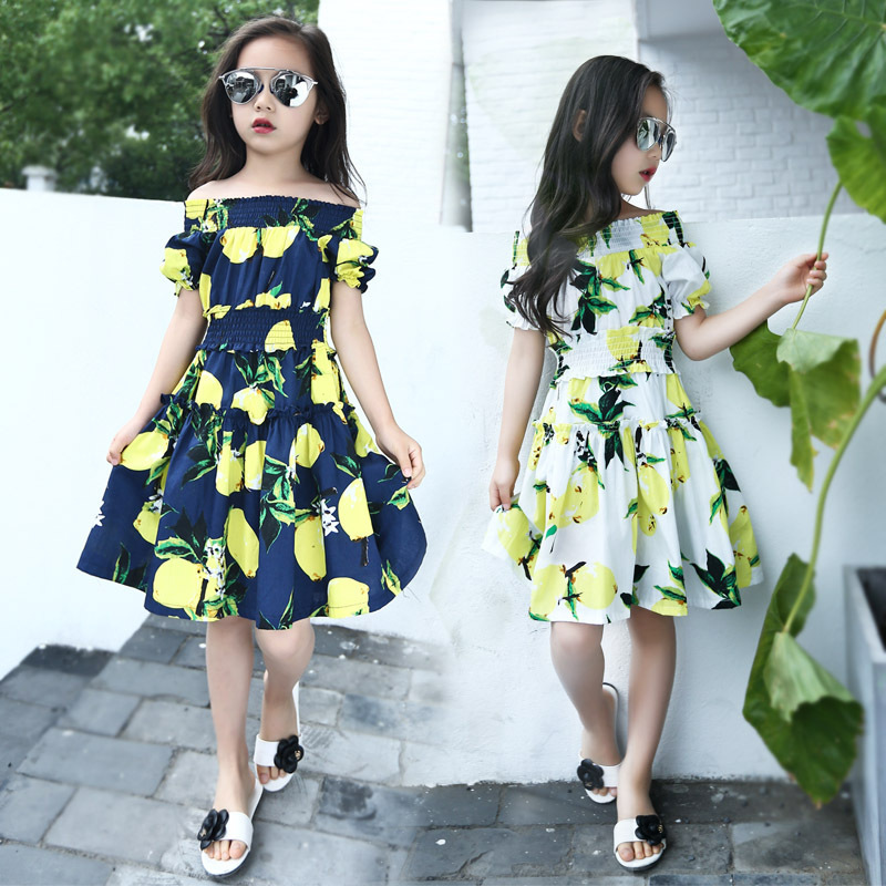 Lemon Girls Dress Cotton Children Clothing 2016 Shoulderless Printed Baby Dresses Brand Girls Clothes Toddler Dress for Party Ho(China (Mainland))