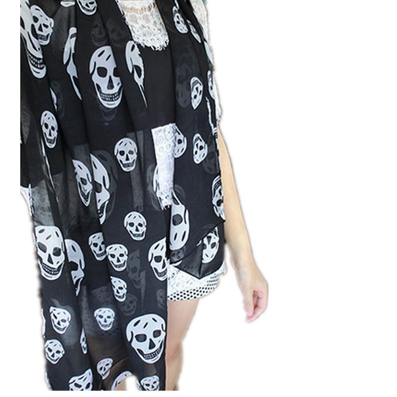 2017 New Women Neckerchief Big Skull Head SKeleton Soft girl Long Shawl Scarf Wrap Stole women Skull Scarf pattern shawl Feb16(China (Mainland))