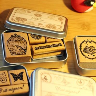 BF040 6 design DIY Scrapbooking Stamps Vintage Wooden Rubber Ink Pad Stamp Iron Box Sealing Stamp Set tinta sellos 10*7.5*2cm(China (Mainland))
