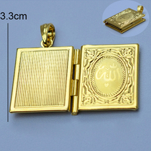 koran box gold Muhammad,18k gold plated Allah Muslim Islamic Quran Books Pendant  Necklaces Women & Men Unisex(China (Mainland))