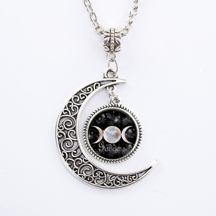 Triple Moon Goddess Logo Art Pendants Necklace Cabochon Silver Chain Star Necklace Statement Necklace For Women(China (Mainland))