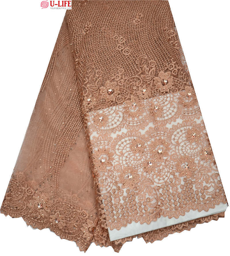 Здесь можно купить  African Lace fabrics High Quality for wedding.Embroidered Peach Lurex Cotton French lace fabric in Big Color Stones  F4-137  Дом и Сад