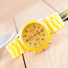 Promotion 2015 New Style Silicone Strap Women Quartz Watch Fashion Casual White Wristwatch Women s Geneva