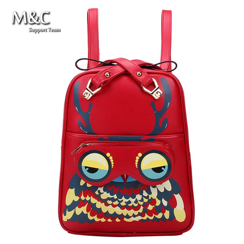 Здесь можно купить  2016 Hot Selling Pu Leather Women Backpacks Brand Women School Bag Animal Owl Backpack Women Travel Bags Bolsa Mochila BD-123  Камера и Сумки