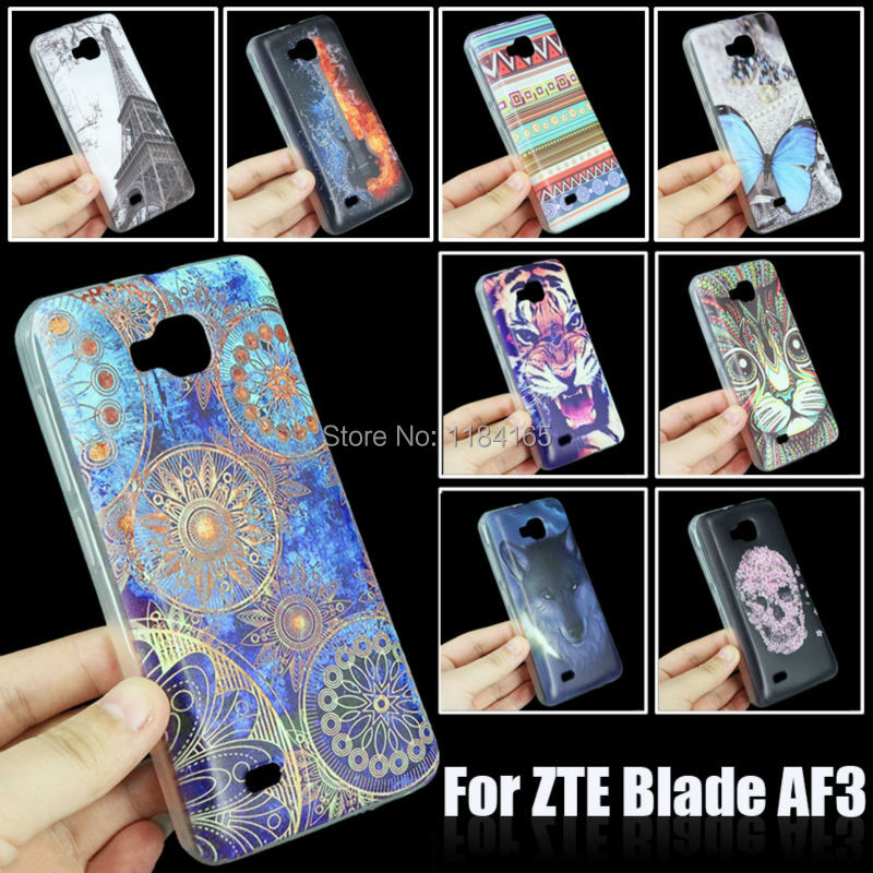 10 Cartoon Colorful Patterns Color Painting Soft Skin Gel TPU Case for ZTE Blade AF3/A3 Phone Back Cover(China (Mainland))