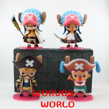 Anime One Piece 4PCS/SET Tony Tony Chopper Cos Shanks Edward Roger Buggy Action Figures Toys Model Collectibles