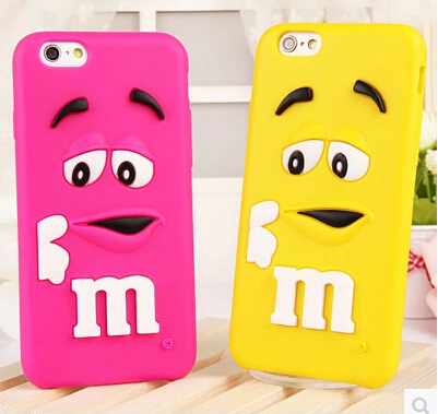 Cute Cartoon MM 3D Chocolate Case Cover For Apple iPhone 6 Case Brand 6 Series Silicon Case For Phone(China (Mainland))