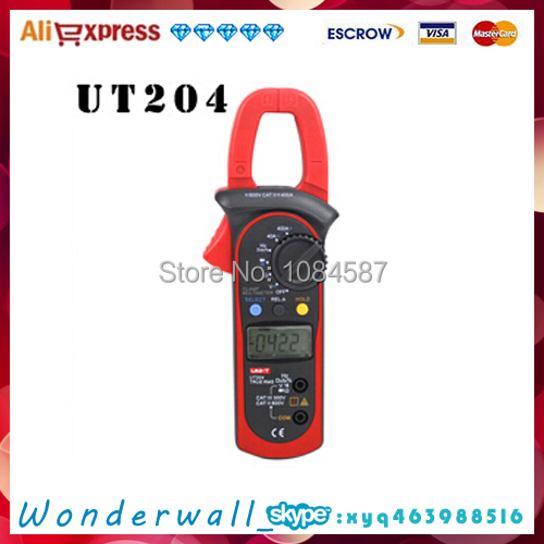 Free shipping UNI-T UT204 AC/DC True-rms Clamp Meter, Voltage Current Resistance Frequency<br><br>Aliexpress