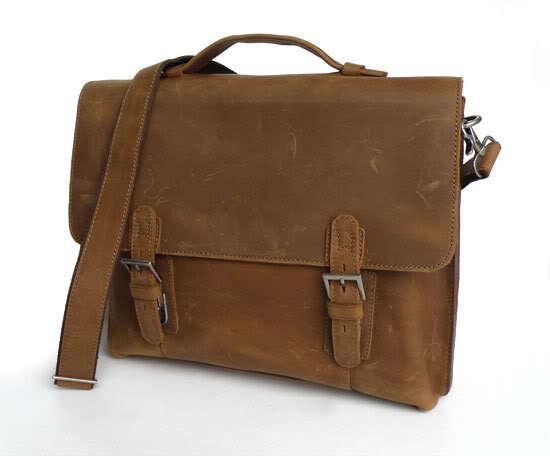New Design Handmade Real Genuine Leather Browns Men's Messenger Shoulder Bag Briefcase Laptop Notebook Handbags Business Cases(China (Mainland))