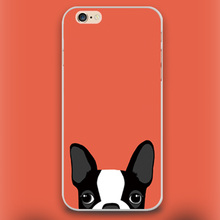 Boston Terrier cute dog in red Design case cover cell mobile phone cases for Apple iphone 4 4s 5 5c 5s 6 6s 6plus hard shell