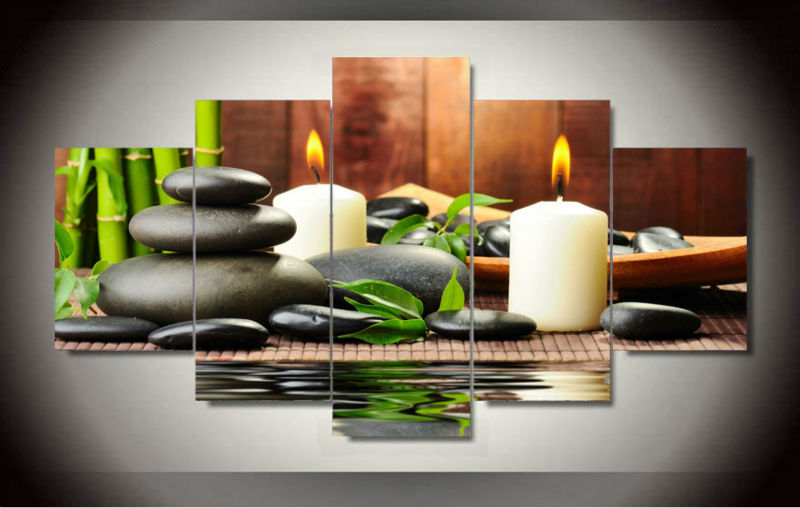 Wall art botanical green feng shui white candle canvas printed painting pictu - Decoration feng shui appartement ...