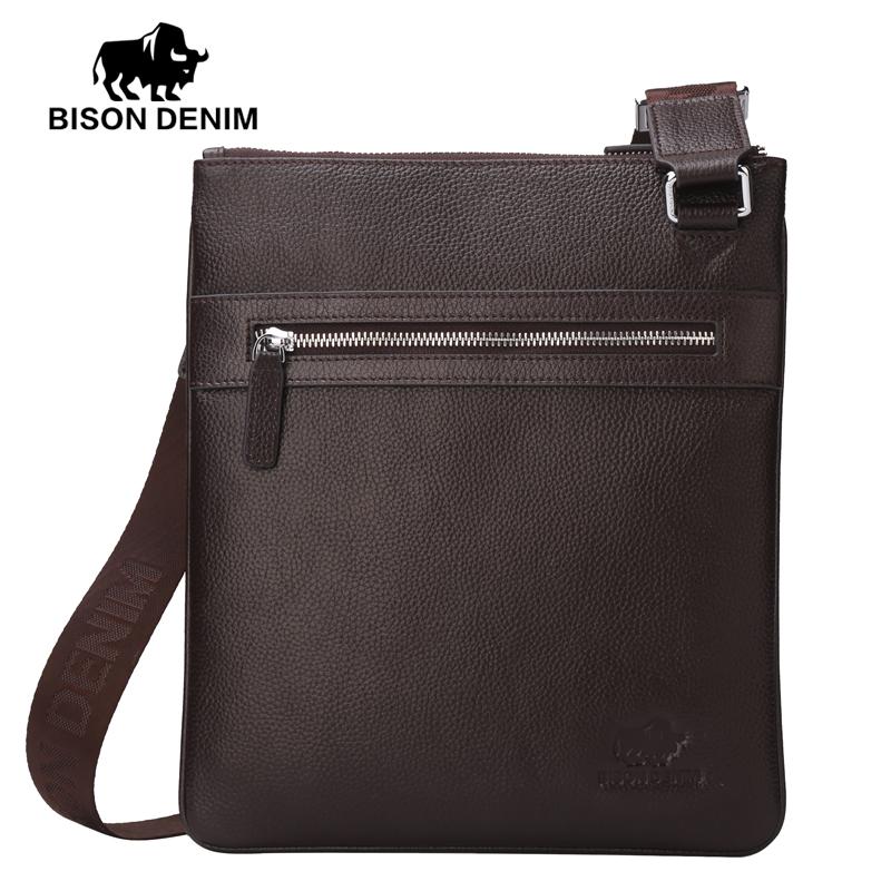 Bison Denim handy top cowhide genuine leather mens messenger bag slim shoulder bag casual<br><br>Aliexpress