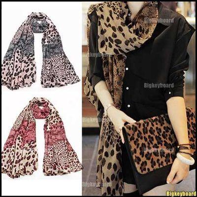 10xFashion Hot Women Ladies Small Large Leopard Print Chiffon Shawl Scarf Long Wrap Stole Free Shipping(China (Mainland))