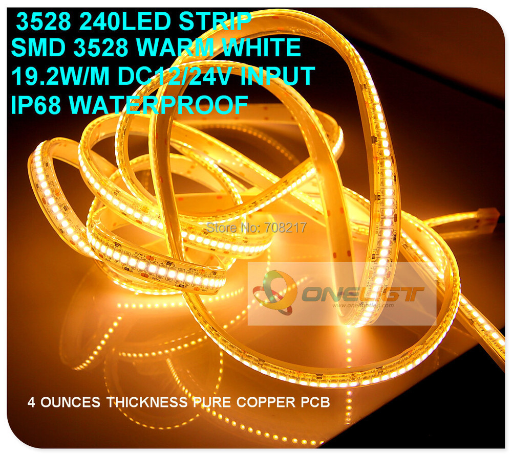 High Quality High Bright SMD 3528 240leds/M LED Strip light Waterproof DC12V 19.2W/M for Shopping mall living room jewerly store(China (Mainland))