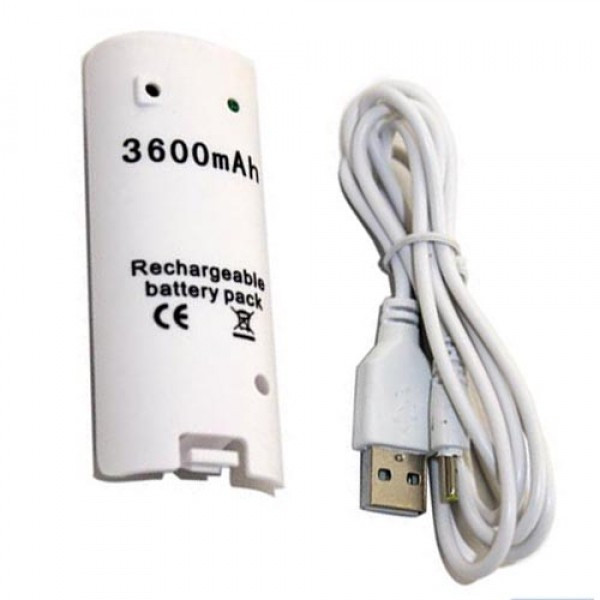 White 3600mAH Rechargeable Battery Charger Cable for Nintendo Wii Remote Controller(China (Mainland))