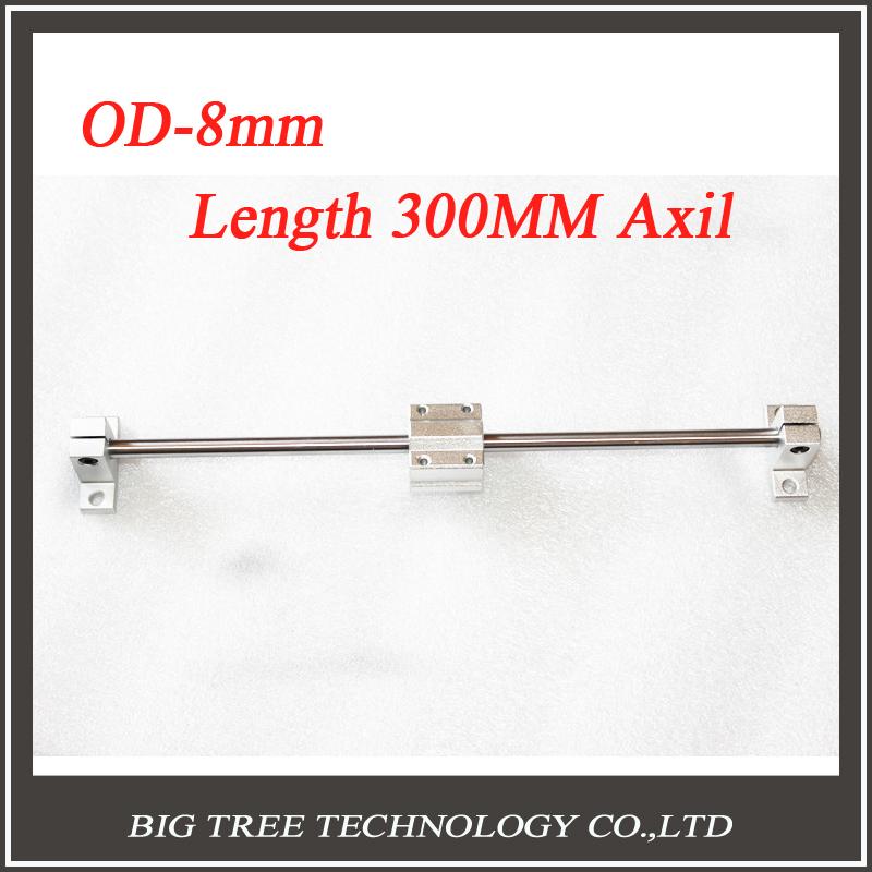1set Sliding Table parts RepRap 3D Printer OD 8MM Axis length 300mm + SC8UU+2PCS bracket(China (Mainland))