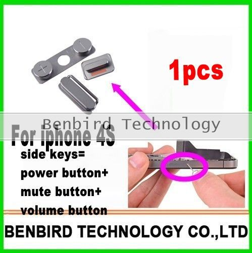 1pcs New side keys Buttons 3 Piece Set Mute Power Volume Replacement Parts for Apple iPhone 4S 4GS B1174