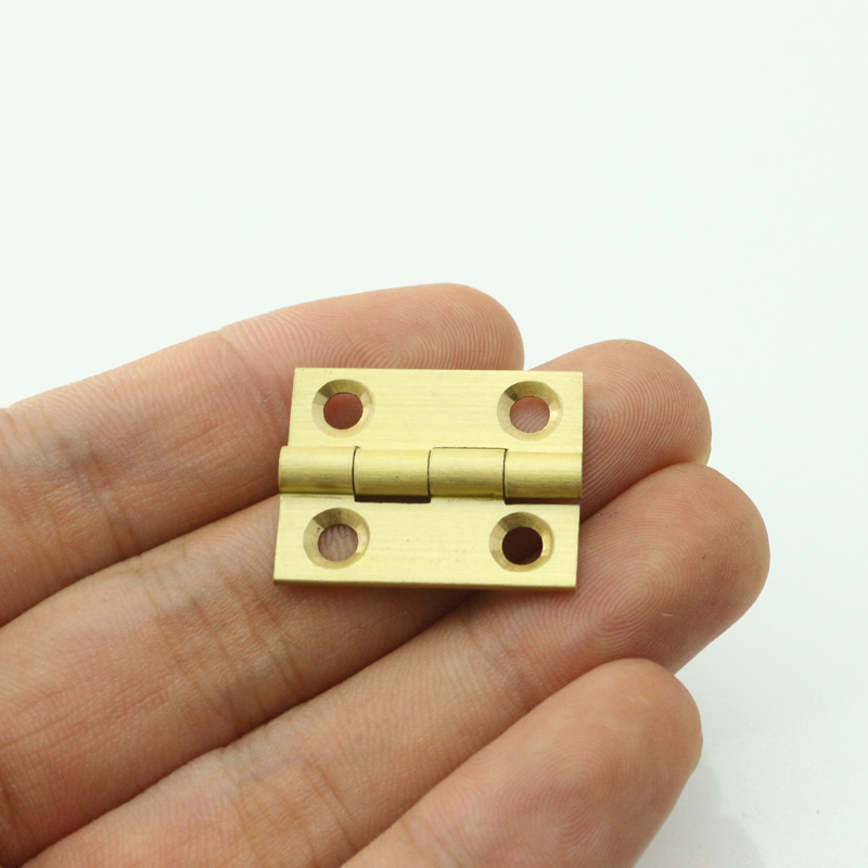 Pure Brass 1 inch Mini Cabinet Drawer Butt Hinge brass small hinge 4 small hole DIY hardware(China (Mainland))