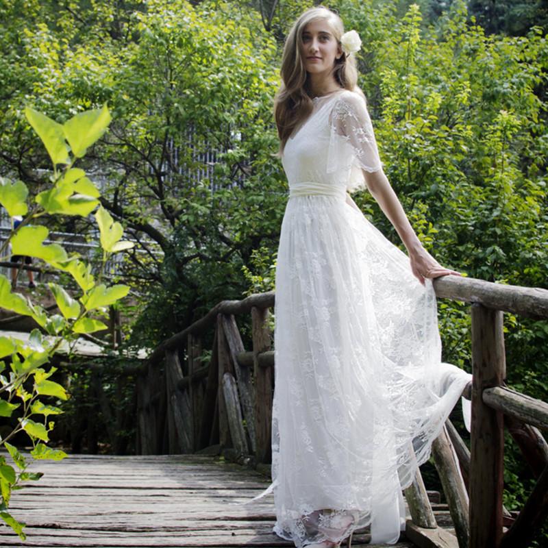 Free shipping 2016 romantic bohemian beach lace wedding for Romantic bohemian wedding dresses