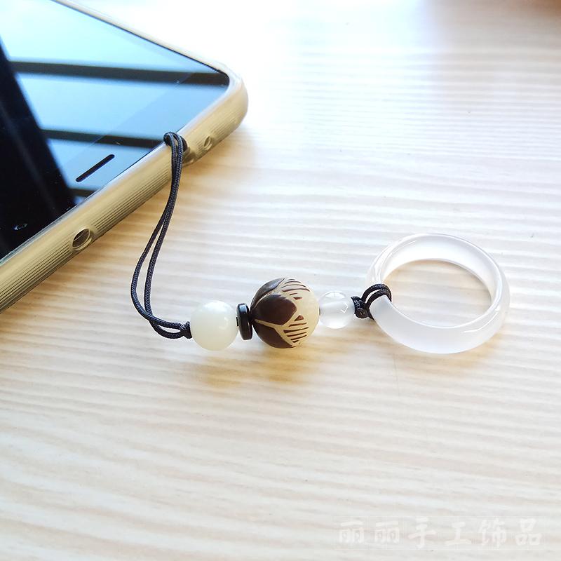 Handmade white jade Lotus Bodhi beads mobile phone chain short paragraph phone shell pendant(China (Mainland))