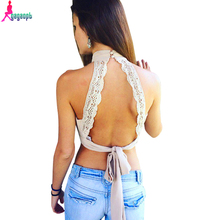 Gagaopt 2016 Sexy Backless 3 Colors Lace Women Tank Top Halter Neck Elegant  Party For Tops Cute Bow Cropped  Tops Feminino (China (Mainland))
