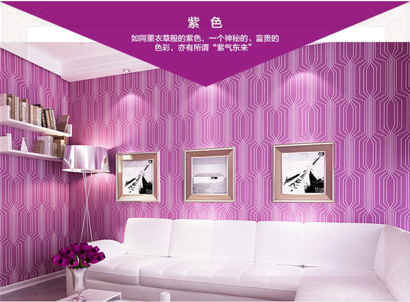 High grade modern fashion stripes purple wallpaper pretty for Purple living room wallpaper