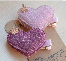 2pcs/set Baby Girls Hair Accessories Sequin Heart Bear Shiny Fabrics And Crown Hair Clip Kids Children Hairpin kk1104(China (Mainland))