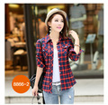 2016 Button Long Plaid Limited Blusas Femininas Blusa Women Blouses The New Cotton Grid Slim Lapel